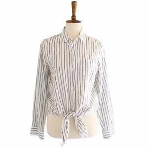 Madewell Striped Button Down Front Tie Shirt